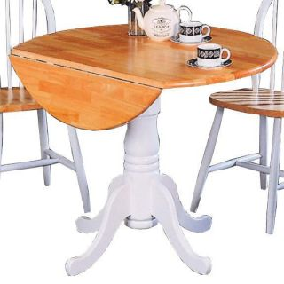 Coaster Furniture 4241 Damen Round Pedestal Drop Leaf Table in Natural