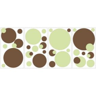 RoomMates 5 in. x 11.5 in. Just Dots Green/Brown Peel and Stick Wall Decal RMK1408SCS