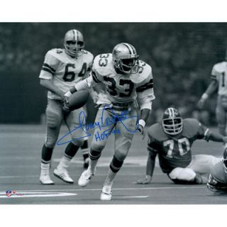 Tony Dorsett Dallas Cowboys  Authentic Autographed 16 x 20 Running in Black and White Photograph with HOF 1994 Inscription
