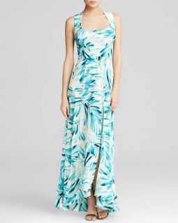 Tracy Reese Maxi Dress   Sleeveless Botanical Print Tie Back