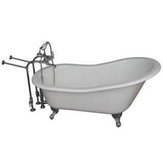 Barclay Products 5.6 ft. Cast Iron Ball and Claw Feet Slipper Tub in White with Polished Chrome Accessories TKCTSN67 CP2