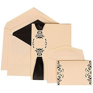 JAM Paper Wedding Invitation Combo Sets, 1 Sm 1 Lg, Ivory with Black Lined Envelopes with Monogram Ribbon, 150/pack (303224685)