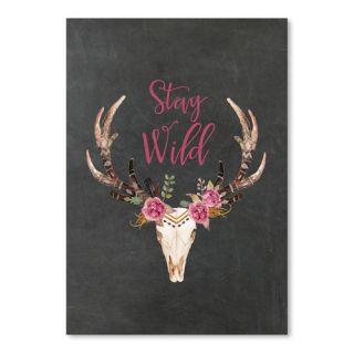 Americanflat Stay Wild Skull by Amy Brinkman Graphic Art in Chalkboard