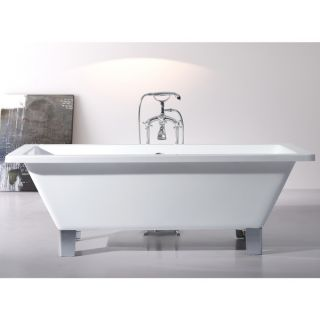 Modern Freestanding 71 inch Acrylic Tub with Square Feet   18692550