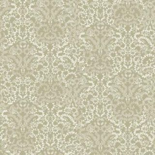 The Wallpaper Company 56 sq. ft. Metallic Pewter and White Modern Lace Damask Effect Wallpaper WC1283623