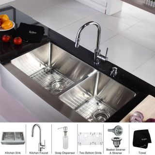 Kraus KHF203 36 KPF1622 KSD30CH Stainless Steel 36 Farmhouse Double Bowl Kitchen Sink and Chrome Kitchen Faucet with Soap Dispenser