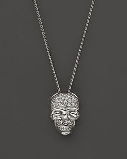 Diamond Pave Skull Pendant Necklace in 14K White Gold, .10 ct. t.w.