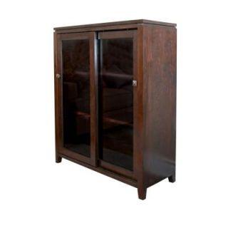 Simpli Home Cosmopolitan Wood Medium Storage Cabinet and Buffet in Dark Brown Wood INT AXCCOS MED CF