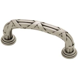 Liberty French Romantics 3 in. (76mm) Brushed Satin Pewter Ribbon and Reed Cabinet Pull PN1517 BSP C