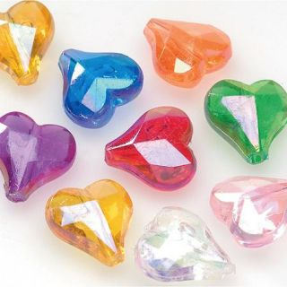 Faceted Heart Beads, 144pk, Assorted Colors