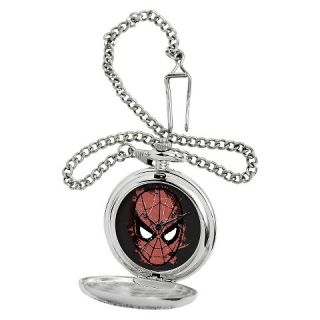 Mens Marvel Spider Man Silver Pocket Watch   Silver