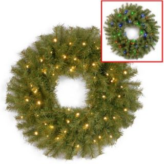 """National Tree 24"""" Norwood Fir Wreath with 50 Battery Operated Dual LED Lights"""