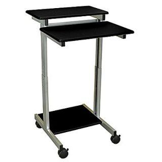 Luxor 24W x 23.6D Steel Mobile Stand Up Computer Desk Presentation Cart, Black