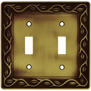 Brainerd 2 Gang Tumbled Antique Brass Toggle Wall Plate