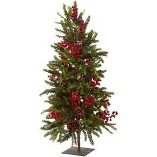 """Nearly Natural 36"""" Pine and Berry Christmas Tree"""