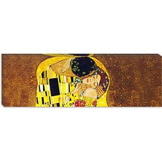iCanvas The Kiss by Gustav Klimt Painting Print on Wrapped Canvas; 12 H x 36 W x 0.75 D