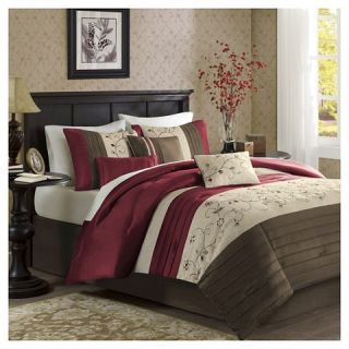 Monroe 6 Piece Embroidered Duvet Cover Set   Red