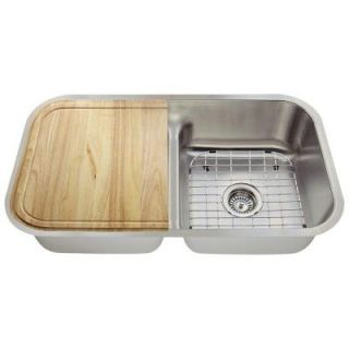 Polaris Sinks All in One Undermount Stainless Steel 33 in. Double Bowl Kitchen Sink P215 16 ENS