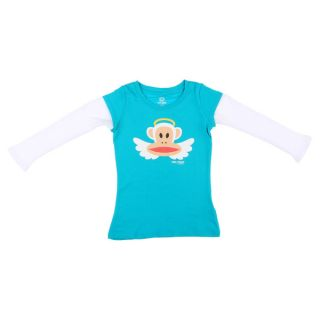 Paul Frank Girls Blue/White Angel Monkey Face Long sleeved Cotton Top