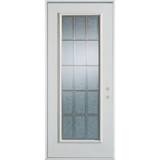 Stanley Doors 36 in. x 80 in. Geometric Glue Chip and Zinc Full Lite Prefinished White Left Hand Inswing Steel Prehung Front Door 1000P PGC 36 L Z