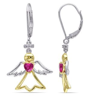 Miadora Two tone Silver Created Ruby Diamond Accent Angel Heart