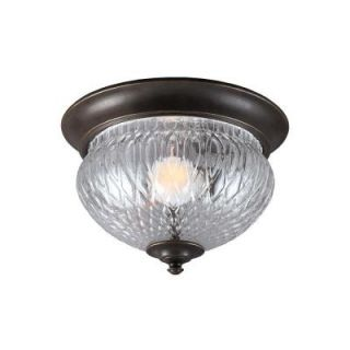 Sea Gull Lighting Garfield Park 1 Light Outdoor Burled Iron Ceiling Flushmount with Clear Glass 7826401 780