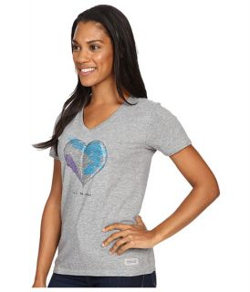 Life Is Good Engraved All We Need Heart Crusher Vee Heather Gray, Gray