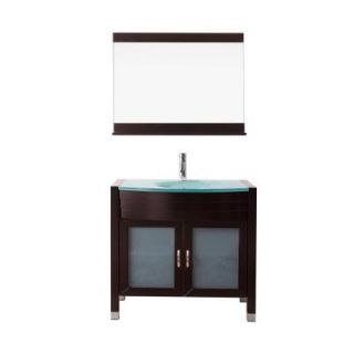 Virtu USA Ava 35.4 in. W x 21.7 in. D Vanity in Espresso with Glass Vanity Top with Aqua Basin and Mirror UM 3071 G ES