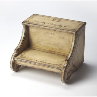 Butler Sussex Gilted Cream Brown Wood Step Stool   18930438