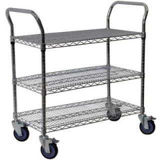 Storage Concepts 3 Shelf Steel Wire Service Cart in Chrome   39 in H x 36 in W x 18 in D WCD3 1836
