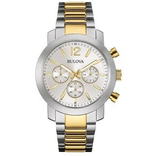 Bulova Mens 98A145 Stainless Steel Chronograph Two Tone Watch