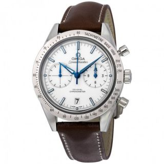 Omega Speedmaster 57 Chronograph White Dial Brown Leather Mens Watch