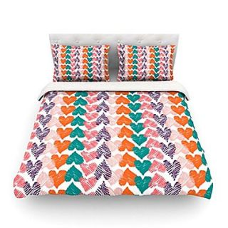 KESS InHouse Hearts by Louise Machado Featherweight Duvet Cover; Queen