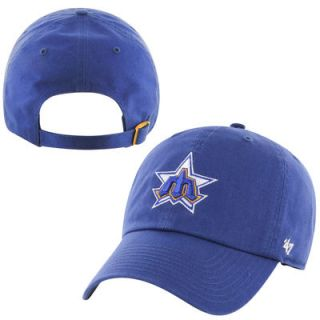Seattle Mariners 47 Brand Cooperstown Collection Vintage Primary Logo Clean Up Adjustable Hat   Royal