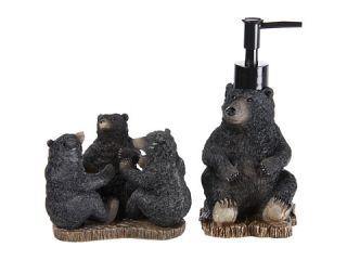 Avanti Black Bear Lodge 3 Piece Bath Accessory Set, Black