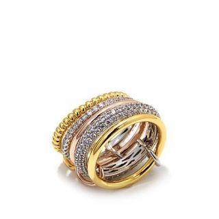 Jewels by Jen 2.54ctw CZ Tri Tone Interlocked Band Rings   8014346