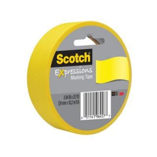 Scotch 0.94 in. x 20 yds. Primary Yellow Expressions Masking Tape (Case of 36) 3437 PYL ESF