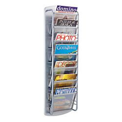 Safco Impromptu 7 Pocket Steel Magazine Rack 41 12 H x 9 12 W x 5 12 D Gray
