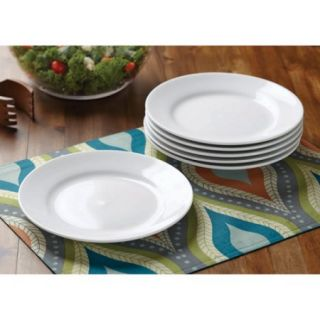 Better Homes and Gardens Round Rim Salad Plates, White, Set of 6