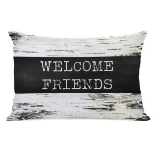 One Bella Casa Welcome Friends Birch Lumbar Pillow