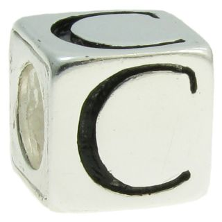 Queenberry Sterling Silver Dice Cube Letter B European Bead Charm