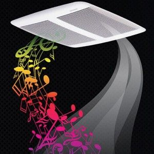 "Broan SPK110 Bathroom Fan, 110 CFM Single Speed w/Sensonic Bluetooth Speaker (Energy Star Rated)   for 4"" Duct"