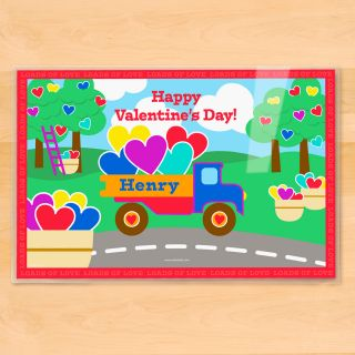 Valentines Day Truck Personalized Placemat by Olive Kids