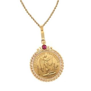 "American Coin Treasures 14k Gold Ruby French 20 Franc Lucky Angel Twisted Rope Bezel Gold Coin Pendant Necklace 18"" 14k Gold 2mm Rope Chain"