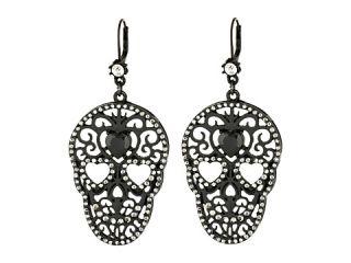 Betsey Johnson Blackout Filigree Skull Drop Earrings Crystal Pot Black, Black