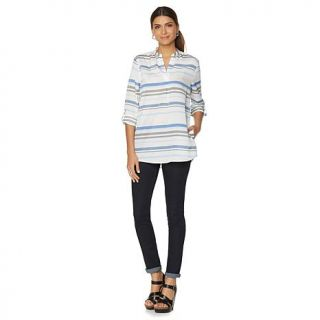 Samantha Brown Roll Tab Tunic Style Blouse   8102787