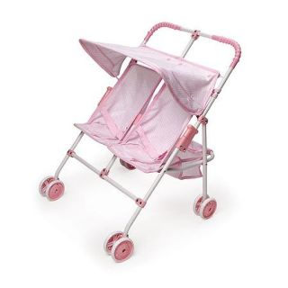 """Badger Basket Double Doll Umbrella Stroller, Pink   Fits Most 18"""" Dolls & My Life As"""
