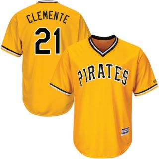 Roberto Clemente Pittsburgh Pirates Majestic Alternate Cool Base Player Jersey   Gold