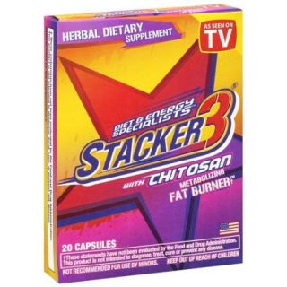 Stacker 3 Diet & Energy Specialists With Chitosan Herbal Dietary Supplement 20 Ct