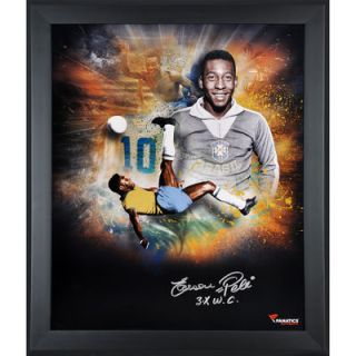 Pele Brasil  Authentic Framed Autographed 20 x 24 In Focus Photograph with Multiple Inscriptions Limited Edition of 10